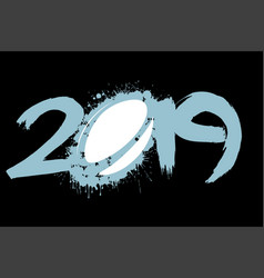 abstract number 2019 and a rugby ball from blots vector image
