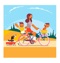 active family vacation mother son and daughter vector image