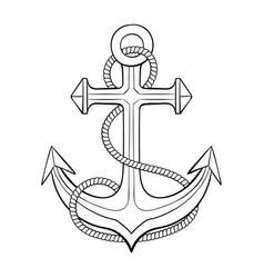 Anchor with rope outline drawing vector