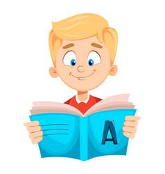 Back to school cute schoolboy reading book vector