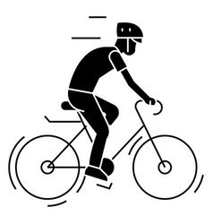 Bicycling - bycicle man icon vector