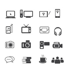 Big data icon set entertainment vector