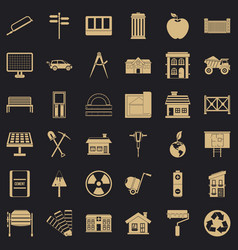 building icons set simple style vector image
