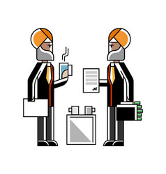 Business meeting indian men in turbans vector