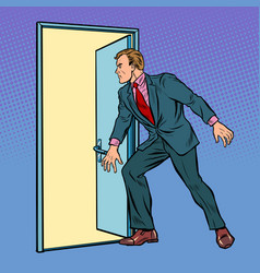 businessman opens door vector image
