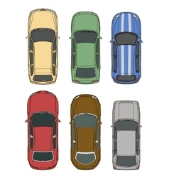 Cars set top view vector