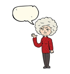 cartoon annoyed old woman waving with speech vector image