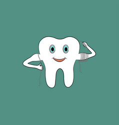 cartoon tooth uses dental floss vector image