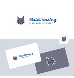 cat logotype with business card template elegant vector image