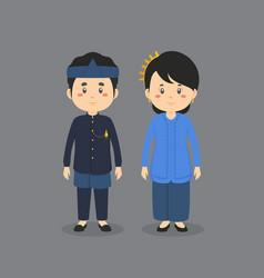Character wearing sundanese traditional dress vector