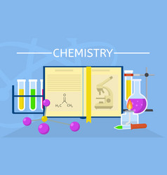 chemistry experiment concept background flat vector image
