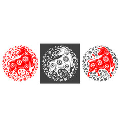 chinese new year 2021 year ox circle design vector image