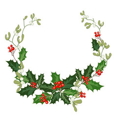 christmas decorations with holly and red berries vector image