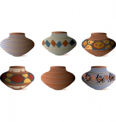 Clay pottery collection vector