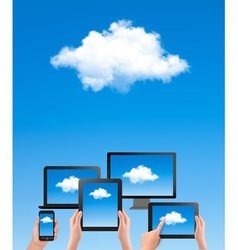Cloud computing concept Hand with blue sky and vector image