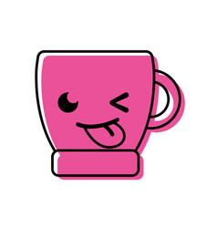 Color funny coffee cup kawaii cartoon vector