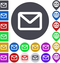 Color mail icon set vector