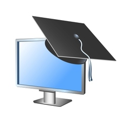 Computer monitor with academic headdress vector