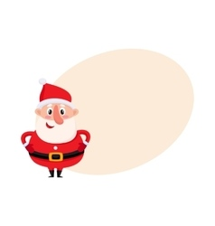 Cute and funny santa claus with round belly vector