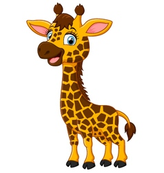 Cute Cartoon Happy Giraffe vector image