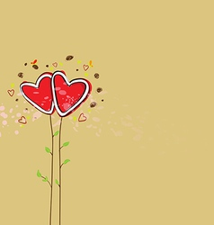 cute heart tree background vector image