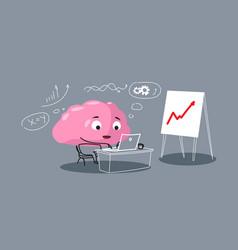 Cute human brain organ pink cartoon character vector