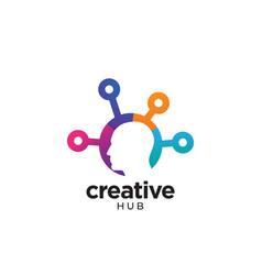 digital abstract human head logo for creative vector image