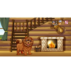 Dog and fireplace vector