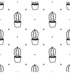 Doodle cactus seamless pattern vector