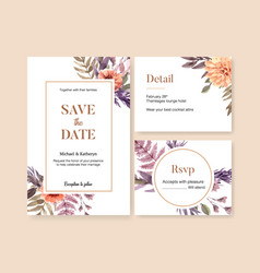 Dried floral wedding card design with anemone vector