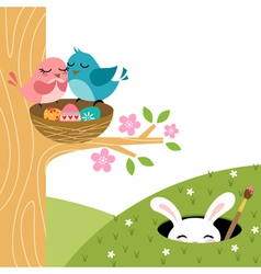 Easter couple of birds vector image