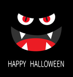 Evil red eyes in dark night smiling wicked mouth vector