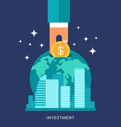 Flat Design Conceptual of Global Finance Economy vector image