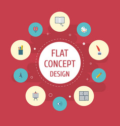 flat icons stand pen scheme elements set vector image
