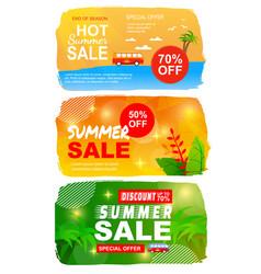 Flat summer sales set with best seasonal offers vector