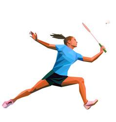 Geometric polygonal professional female badminton vector
