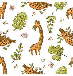 giraffe and leopard hand drawn grunge seamless pat vector image