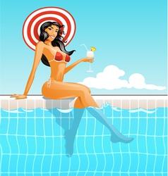 Girl in swimming pool vector