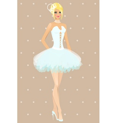 Girl in wedding dress vector