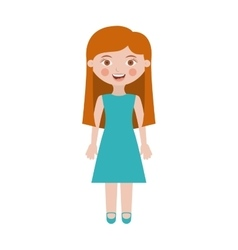 Girl with dress and long hair vector