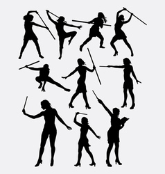 Girl with stick female sport silhouette vector image