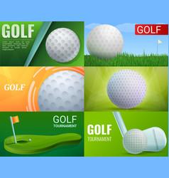 golf banner set cartoon style vector image