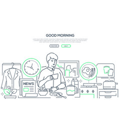Good morning - line design style web banner vector