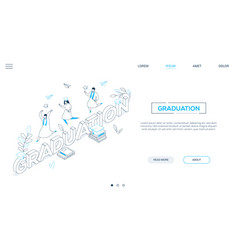 graduation concept - line design style isometric vector image