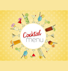 hand drawn cocktails cocktail menu on light vector image