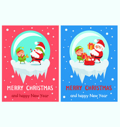 happy new year merry christmas poster santa elf vector image