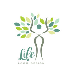 Healthy life logo with abstract human silhouette vector