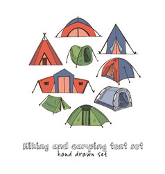 hiking and camping hand drawn doodle set isolated vector image