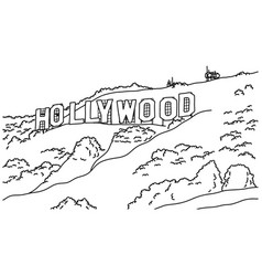 Hollywood sign sketch doodle hand vector