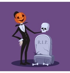 Jack o Lantern Near the Grave Halloween vector image